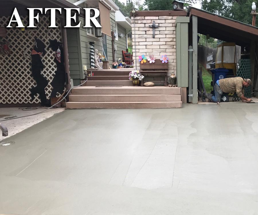New concrete patio poured